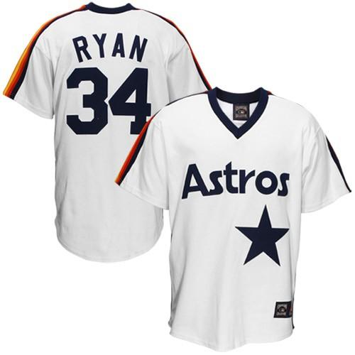 Men's Mitchell and Ness Houston Astros #34 Nolan Ryan Replica White Throwback MLB Jersey