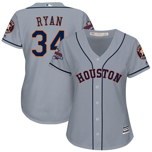 Women's Majestic Houston Astros #34 Nolan Ryan Authentic Grey Road 2017 World Series Champions Cool Base MLB Jersey