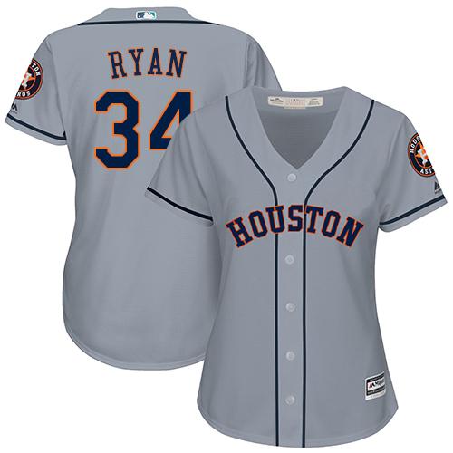 Women's Majestic Houston Astros #34 Nolan Ryan Authentic Grey Road Cool Base MLB Jersey