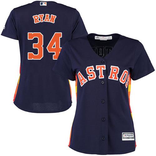 Women's Majestic Houston Astros #34 Nolan Ryan Authentic Navy Blue Alternate Cool Base MLB Jersey