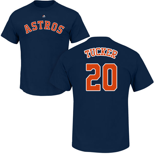 MLB Nike Houston Astros #20 Preston Tucker Navy Blue Name & Number T-Shirt