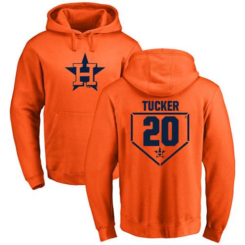 MLB Nike Houston Astros #20 Preston Tucker Orange RBI Pullover Hoodie