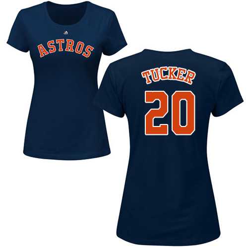 MLB Women's Nike Houston Astros #20 Preston Tucker Navy Blue Name & Number T-Shirt