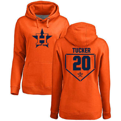 MLB Women's Nike Houston Astros #20 Preston Tucker Orange RBI Pullover Hoodie