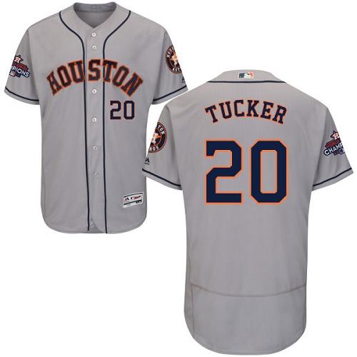 Men's Majestic Houston Astros #20 Preston Tucker Authentic Grey Road 2017 World Series Champions Flex Base MLB Jersey