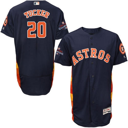 Men's Majestic Houston Astros #20 Preston Tucker Authentic Navy Blue Alternate 2017 World Series Champions Flex Base MLB Jersey