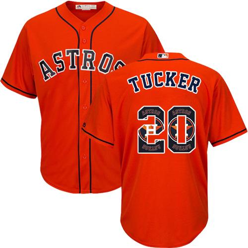 Men's Majestic Houston Astros #20 Preston Tucker Authentic Orange Team Logo Fashion Cool Base MLB Jersey