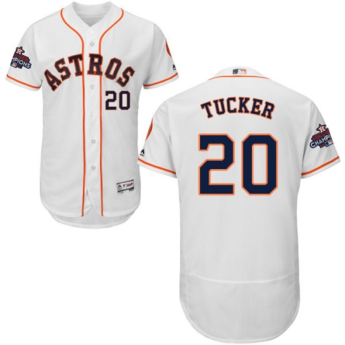 Men's Majestic Houston Astros #20 Preston Tucker Authentic White Home 2017 World Series Champions Flex Base MLB Jersey