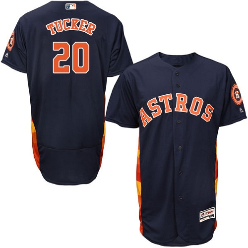 Men's Majestic Houston Astros #20 Preston Tucker Navy Blue Alternate Flex Base Authentic Collection MLB Jersey