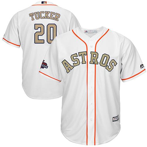 Men's Majestic Houston Astros #20 Preston Tucker Replica White 2018 Gold Program Cool Base MLB Jersey
