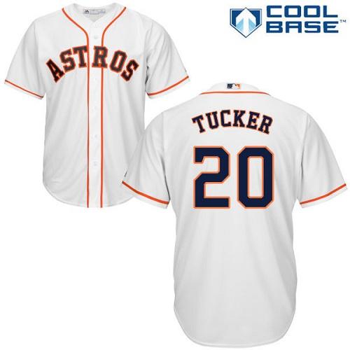 Men's Majestic Houston Astros #20 Preston Tucker Replica White Home Cool Base MLB Jersey
