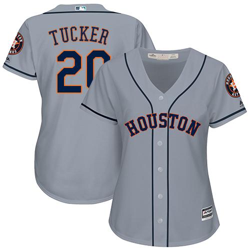 Women's Majestic Houston Astros #20 Preston Tucker Authentic Grey Road Cool Base MLB Jersey