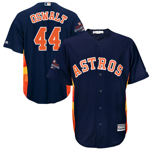 Men's Majestic Houston Astros #44 Roy Oswalt Replica Navy Blue Alternate 2017 World Series Champions Cool Base MLB Jersey
