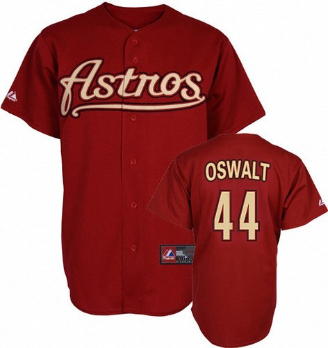 Men's Mitchell and Ness Houston Astros #44 Roy Oswalt Replica Red Throwback MLB Jersey