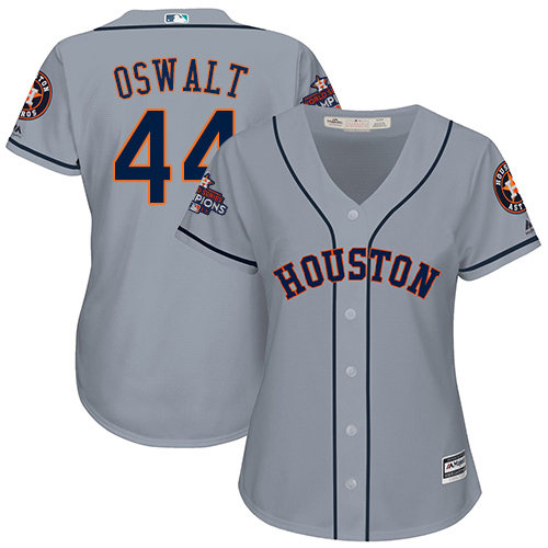 Women's Majestic Houston Astros #44 Roy Oswalt Replica Grey Road 2017 World Series Champions Cool Base MLB Jersey