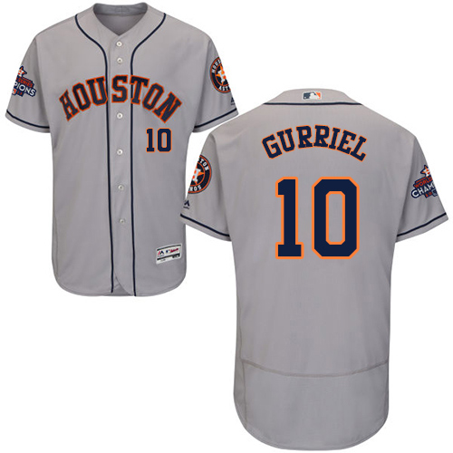 Men's Majestic Houston Astros #10 Yuli Gurriel Authentic Grey Road 2017 World Series Champions Flex Base MLB Jersey