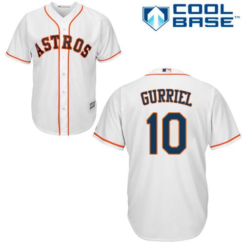 Men's Majestic Houston Astros #10 Yuli Gurriel Replica White Home Cool Base MLB Jersey