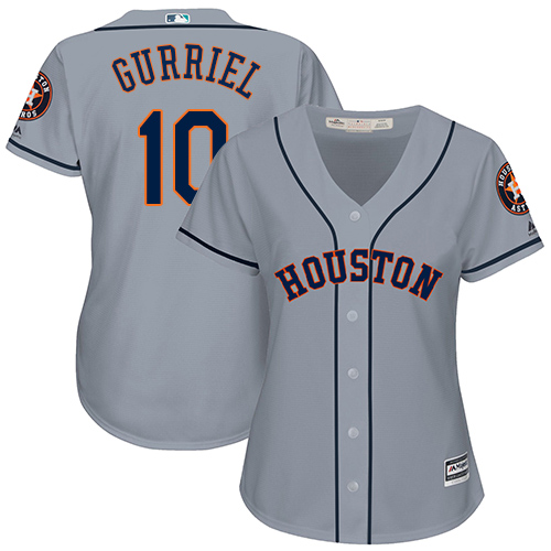 Women's Majestic Houston Astros #10 Yuli Gurriel Authentic Grey Road Cool Base MLB Jersey