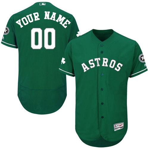 Men's Majestic Houston Astros Customized Green Celtic Flexbase Authentic Collection MLB Jersey