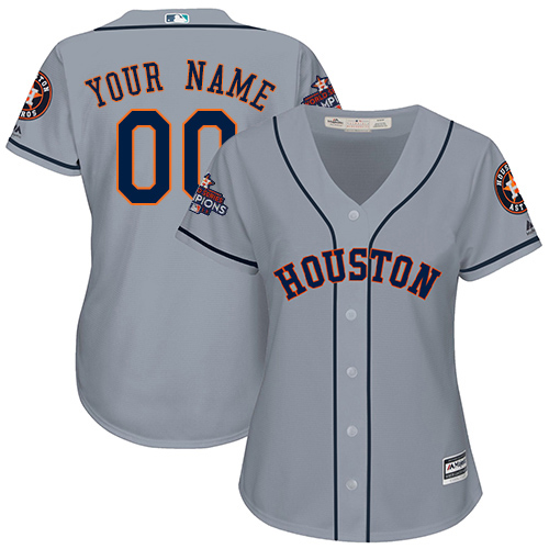 Women's Majestic Houston Astros Customized Replica Grey Road 2017 World Series Champions Cool Base MLB Jersey