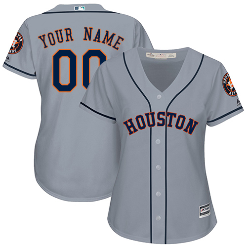 Women's Majestic Houston Astros Customized Replica Grey Road Cool Base MLB Jersey