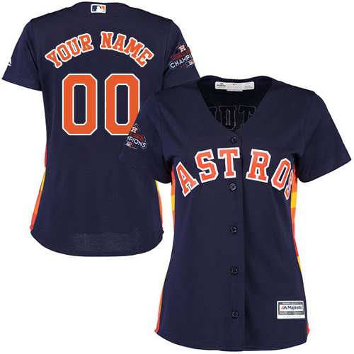Women's Majestic Houston Astros Customized Replica Navy Blue Alternate 2017 World Series Champions Cool Base MLB Jersey