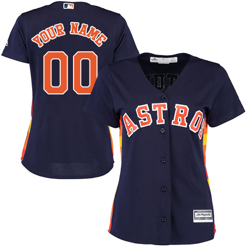 Women's Majestic Houston Astros Customized Replica Navy Blue Alternate Cool Base MLB Jersey
