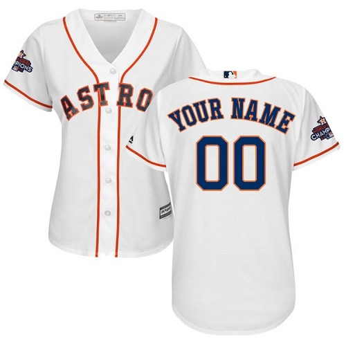 Women's Majestic Houston Astros Customized Replica White Home 2017 World Series Champions Cool Base MLB Jersey
