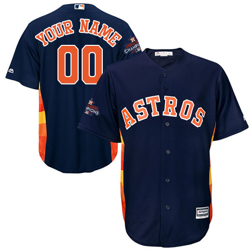 Youth Majestic Houston Astros Customized Authentic Navy Blue Alternate 2017 World Series Champions Cool Base MLB Jersey