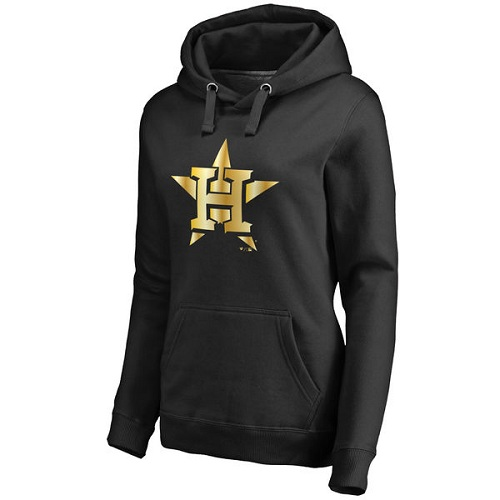 MLB Houston Astros Women's Gold Collection Pullover Hoodie - Black