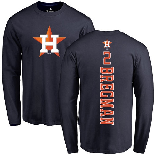 MLB Nike Houston Astros #2 Alex Bregman Navy Blue Backer Long Sleeve T-Shirt
