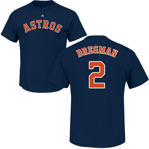 MLB Nike Houston Astros #2 Alex Bregman Navy Blue Name & Number T-Shirt