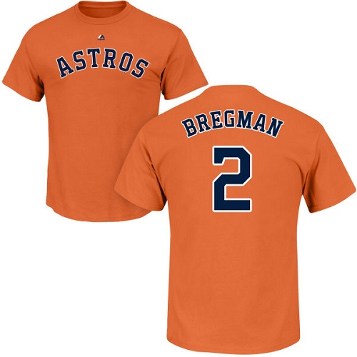 MLB Nike Houston Astros #2 Alex Bregman Orange Name & Number T-Shirt