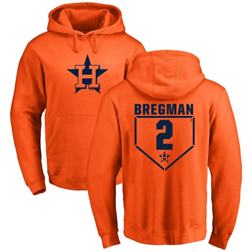 MLB Nike Houston Astros #2 Alex Bregman Orange RBI Pullover Hoodie