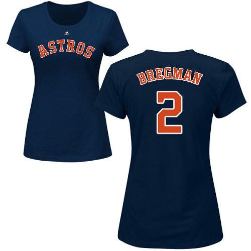 MLB Women's Nike Houston Astros #2 Alex Bregman Navy Blue Name & Number T-Shirt
