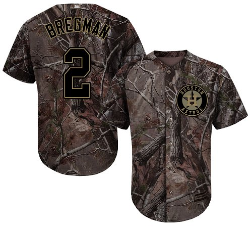 Men's Majestic Houston Astros #2 Alex Bregman Authentic Camo Realtree Collection Flex Base MLB Jersey
