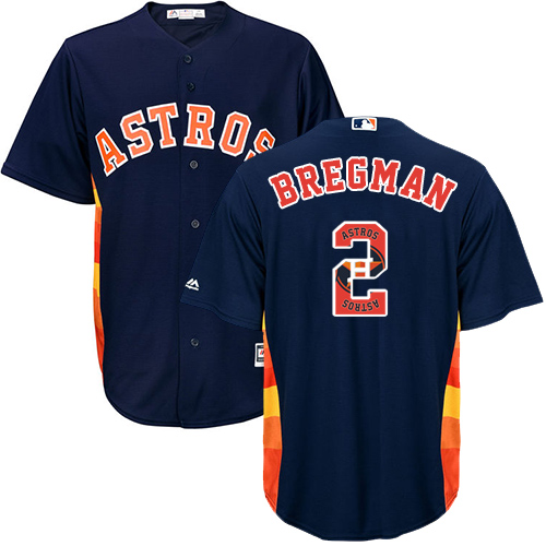 Men's Majestic Houston Astros #2 Alex Bregman Authentic Navy Blue Team Logo Fashion Cool Base MLB Jersey