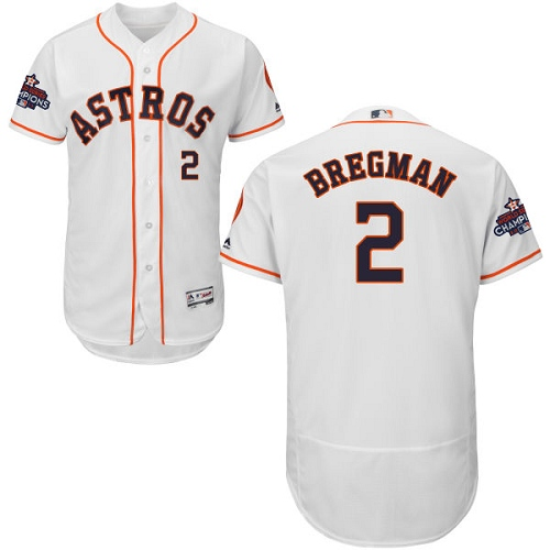 Men's Majestic Houston Astros #2 Alex Bregman Authentic White Home 2017 World Series Champions Flex Base MLB Jersey