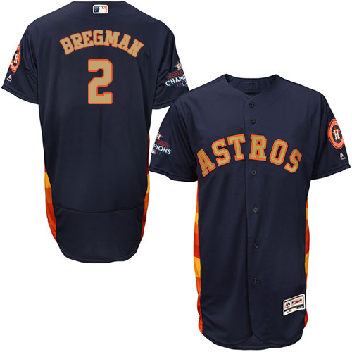 Men's Majestic Houston Astros #2 Alex Bregman Navy Blue Alternate 2018 Gold Program Flex Base Authentic Collection MLB Jersey