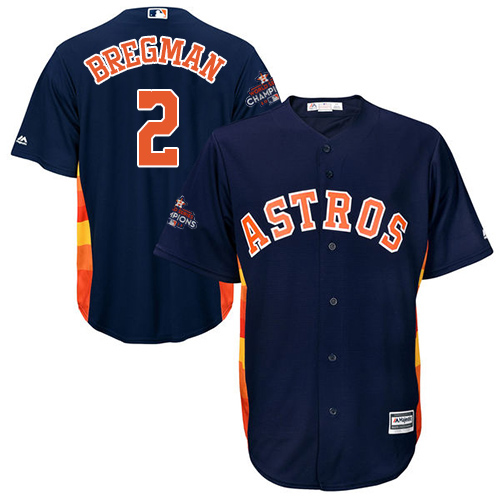 Men's Majestic Houston Astros #2 Alex Bregman Replica Navy Blue Alternate 2017 World Series Champions Cool Base MLB Jersey
