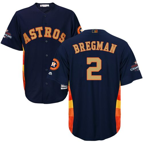 Men's Majestic Houston Astros #2 Alex Bregman Replica Navy Blue Alternate 2018 Gold Program Cool Base MLB Jersey