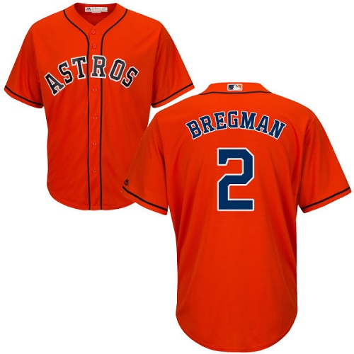 Men's Majestic Houston Astros #2 Alex Bregman Replica Orange Alternate Cool Base MLB Jersey