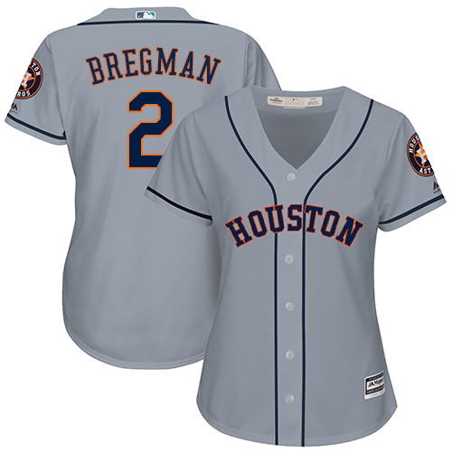 Women's Majestic Houston Astros #2 Alex Bregman Authentic Grey Road Cool Base MLB Jersey