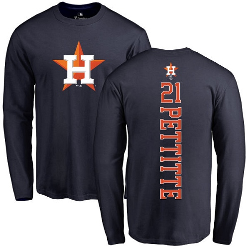 MLB Nike Houston Astros #21 Andy Pettitte Navy Blue Backer Long Sleeve T-Shirt