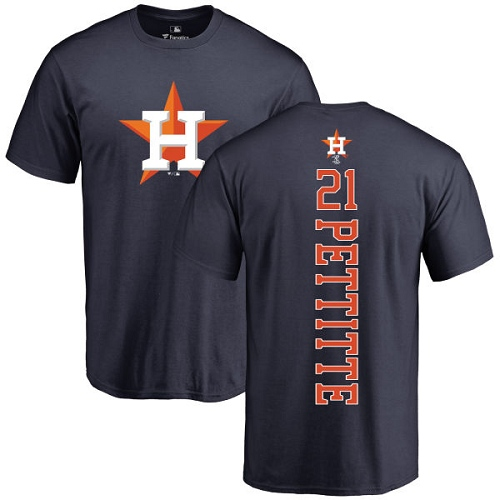 MLB Nike Houston Astros #21 Andy Pettitte Navy Blue Backer T-Shirt