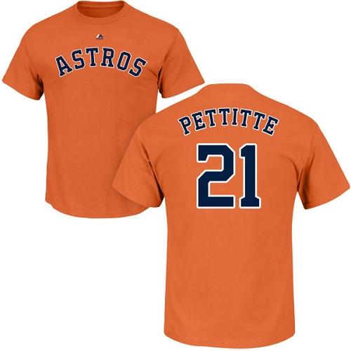 MLB Nike Houston Astros  21 Andy Pettitte Orange Name   Number T-Shirt 573a51c6ba8