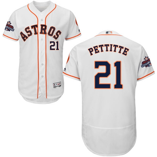 Men's Majestic Houston Astros #21 Andy Pettitte Authentic White Home 2017 World Series Champions Flex Base MLB Jersey