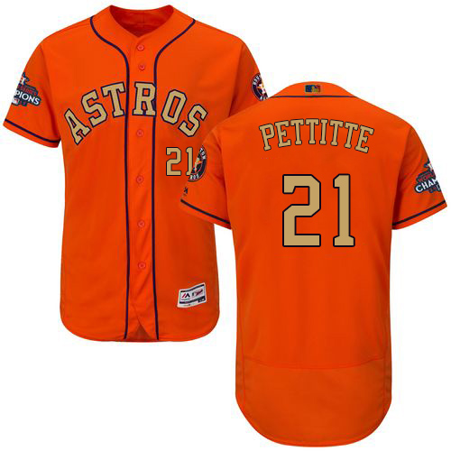 Men's Majestic Houston Astros #21 Andy Pettitte Orange Alternate 2018 Gold Program Flex Base Authentic Collection MLB Jersey