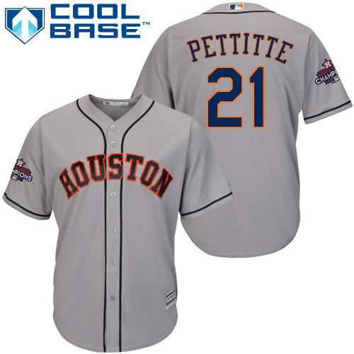 Men's Majestic Houston Astros #21 Andy Pettitte Replica Grey Road 2017 World Series Champions Cool Base MLB Jersey