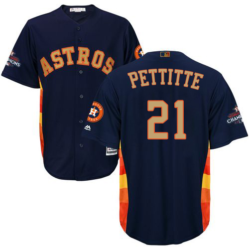 Men's Majestic Houston Astros #21 Andy Pettitte Replica Navy Blue Alternate 2018 Gold Program Cool Base MLB Jersey